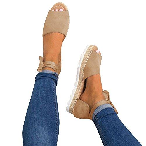 Gemijacka Damen Knöchel Schnalle Riemen Espadrilles Ausgeschnitten Binden Niet Klassischen Sommer Flache Sandale Schuhe