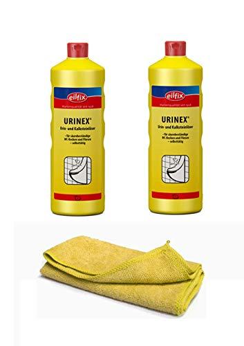 Sanitärreiniger - Kalklöser - WC Entkalker - Urinsteinlöser | mit Profi Microfasertuch gelb(2 Flaschen=2 Liter)