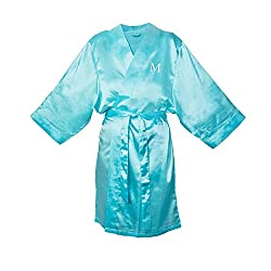 Cathys Concepts Personalized Aqua Satin Robe, L/XL, Letter M