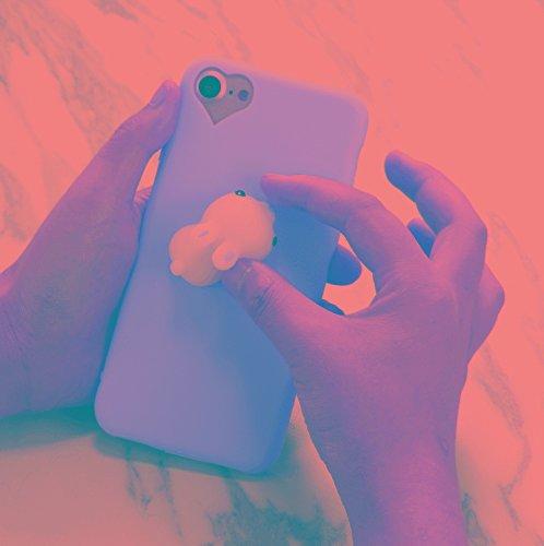 YongYeYaoBEN Für iPhone 8 & 7 Magenta Hintergrund Schöne kleine Kaninchen Muster Squeeze Relief Squishy Dropproof Schutzhülle zurück Fall