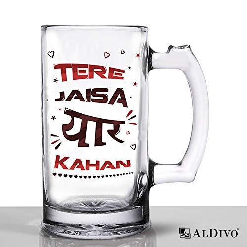 alDivo Funny Quote Tere Jaisa Yaar Kahan Printed Beer Mug, Large Mug 360 ml