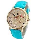 Amlaiworld Orologio da polso per Donne, Carino gatto ecopelle cinturino Band orologio (blu)