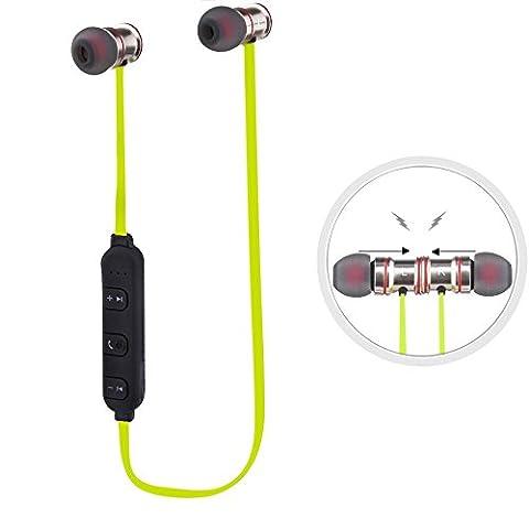 Ecandy Sport Bluetooth 4.0 Headset Kopfhörer Rauschunterdrückung. Für Sport Aktivitäten geeigneter Kopfhörer S3020 ISSC2020 V4.1Für Anrufe iPhone 7 6 6 + 3G 3GS 4 4S 5 5C 5S iPad 2, iPad 3 Ipad 4, Ipad Mini, iPod touch Samsung Galaxy S3 i9300 S4 i9600 9500 Nota 2 Nota 3 Nota 4 HTC Blackberry (grün)