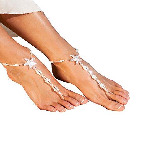 Yuccer Fuß Jewelry, Damen Weinlese Strass Fuss-Schmuck Fußkettchen Anklet Chain Bohemian Gold 1 Paar (A)