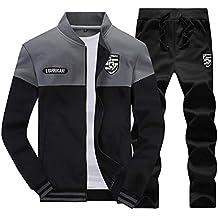 LaoZanA Hombre Chándal 2 Piezas Conjuntos Deportivos Pantalones + Chaquetas Sweatshirt Gris 3XL