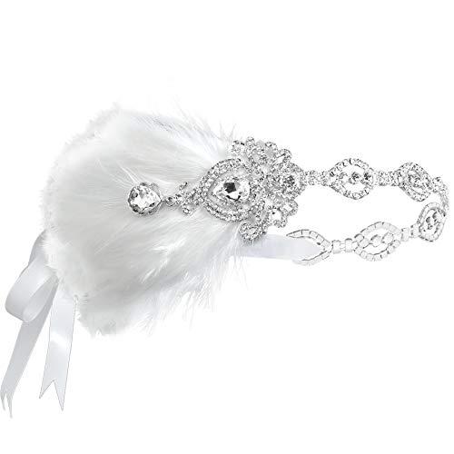 Coucoland 1920s Stirnband Feder mit Strass Damen 20er Jahre Stil Flapper Charleston Haarband Great Gatsby Damen Fasching Kostüm Accessoires (Weiß)