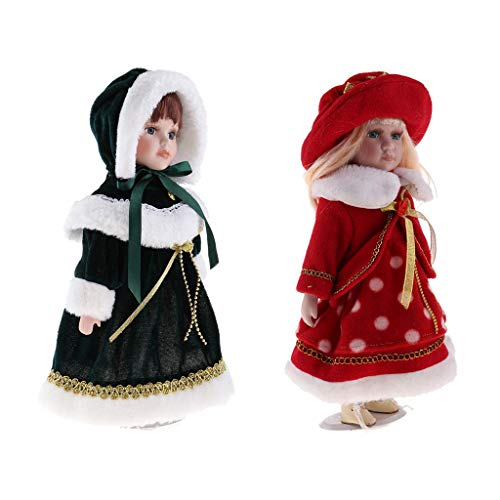 SM SunniMix 30cm Klein Porzellanpuppen Viktorianische Mädchen Puppe Dekofiguren mit Metallständer Tischdekoration -