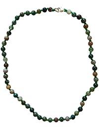 Précieux Collier Chaînette–Jaspe verte et femme–Argent, fait à la main–Très belle pour filles et garçons–Jaspe: kräftigung, Digestion