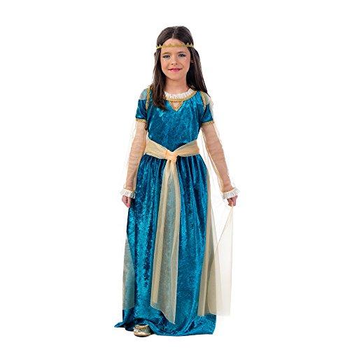 Mittelalter Prinzessin Kostüm Kinder türkis gold Kleid mit Schärpe und Stirnband - 9/11 Jahre