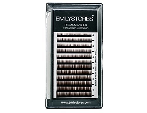 EMILYSTORES Lash Eyebrow Extensions Color Brown Thickness 0.10 mm Length 5/6/7/8MM Mixed Sizes One Tray by EMILYSTORS