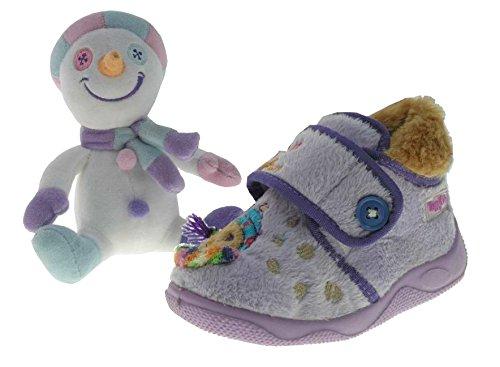 Beppi Kinder Hausschuhe Pantoffeln warm und bequem mit Innenfutter + Puppe Violett