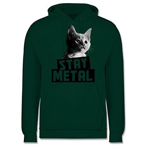 Metal - Stay Metal Katze - Männer Premium Kapuzenpullover / Hoodie Dunkelgrün