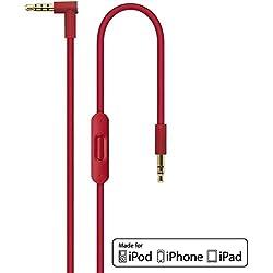 Rouge 2.0 Remplacement L'audio Câble avec In-line microphone et télécommande parler pour Apple Beats by Dr Dre/Monster écouteurs Studio | Solo | Pro | Mixr | Detox | iPhone, iPad, iPod, Aux Auxiliaire