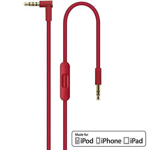 Ersatz Rot Audio AUX Kabel Verlängerungskabel für Beats by Dr Dre / Monster Kopfhörer mit Inline-Mikrofon Studio | Solo | Wireless | Pro | Mixr - Lautstärkeregler, und Anrufannahme iPhone - 3,5mm 1.4m