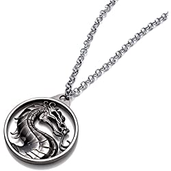 Beaux Bijoux Collar con Colgante, diseño de dragón Plateado de la casa Targaryen, en Caja de Regalo