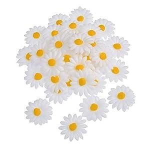 Ruiting Fiesta de la Boda de la Flor Artificial de la Margarita 50Pcs Faux Flor decoración de la Fuente 4 cm de la Cabeza de la Margarita de la simulación