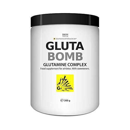 Dion Sportlab | GlutaBomb™ | Aide à la synthèse des protéines et améliore le système immunitaire | L-glutamine | acide L-glutamique | N-acétyl-L-glutamine | peptides de L-glutamine | 300g