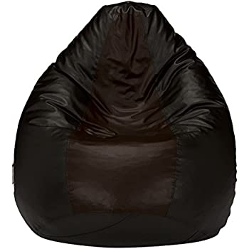 Amazon Brand - Solimo XL Bean Bag Cover Without Beans (Black and Brown)