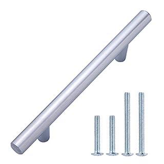 AmazonBasics - Europäischer Steggriff, Möbelgriff (1,27 cm Durchmesser), Länge: 15,57 cm (Lochmitte zu Lochmitte: 9,52 cm), Poliertes Chrom, 10er-Pack