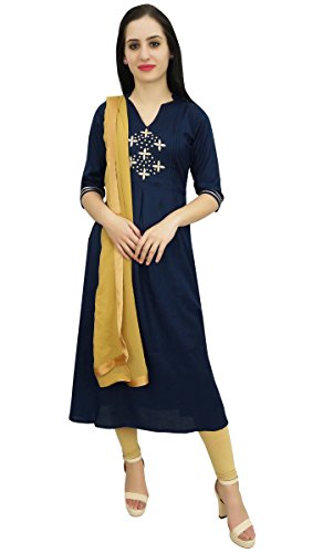 Atasi Frauen Blau A-Line Straight Salwar Anzug mit Dupatta Casual Dress-40 -