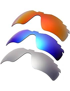 Hkuco Plus Mens Replacement Lenses For Oakley RadarLock-Edge Red/Blue/Titanium Sunglasses