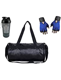 Hyper Adam AN-304 Heritage Look Gym Bag, Protein Shaker And Gym Glove With Wrist Support Combo