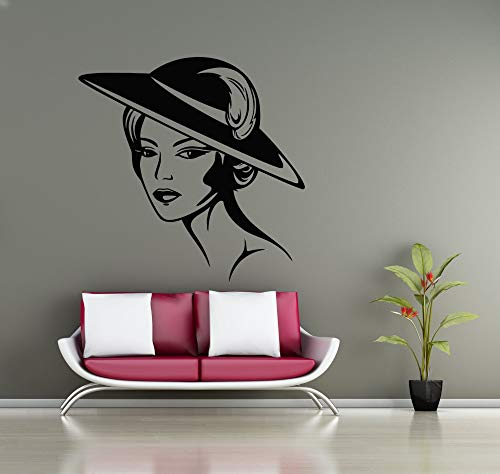 jiuyaomai Beauty Salon Anwendbar Wandtattoo Schöne Frau Hut Make-Up Styling Silhouette Wandaufkleber Vinyl Kunstwand Mädchen Zimmer 42x42 cm Block-logo-hut