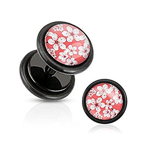 1 x Pink Cherry Blossom Inlay Schwarz Acryl Chirurgische Stahl 1.2mm Dicke Fake (Faux) Plug Flesh Tunnel, kann in Normal Ohr Piercing No Stretching getragen (Cherry Kostüme Blossom)