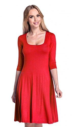 Glamour Empire Femme. Robe trapèze patineuse manches 3/4 décolleté carrée. 314 Rouge