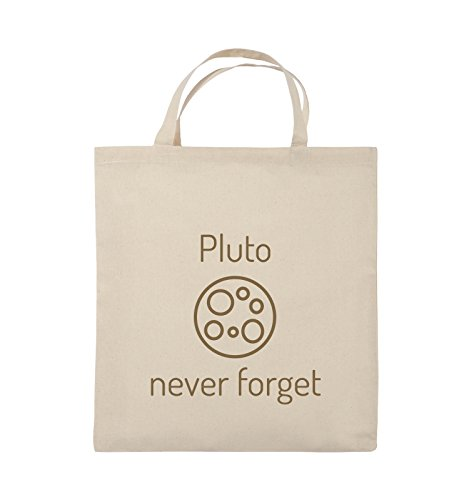 Borse Comiche - Pluto Mai Dimenticare - Borsa In Juta - Manico Corto - 38x42cm - Colore: Nero / Argento Naturale / Marrone Chiaro