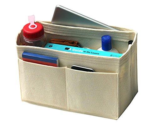 [Passt verschiedene Taschen, L.V. Her.mes Long.champ Go.yard] Filz Tote Organizer (w/Milk Wasserflaschenhalter), Geldbörse einfügen, Kosmetik-Make-up Windel Handtasche, Taschen