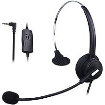 Wantek Mono Call Center Teléfono Auricular con 2.5mm Auricular Jack + Micrófono + Volume Mute Controls para Cisco Linksys SPA SPA921 SPA922 SPA941 303 501G 502G 504G 508G 509G IP Teléfonos(H110B01J25)