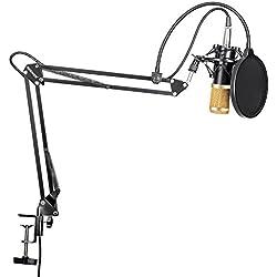 Neewer NW-800 Profesional Estudio Difusión Grabación Micrófono Condensador y NW-35 Micrófono Grabación Ajustable Suspensión Brazo de tijera Soporte con montaje de choque y Kit de abrazadera de montaje