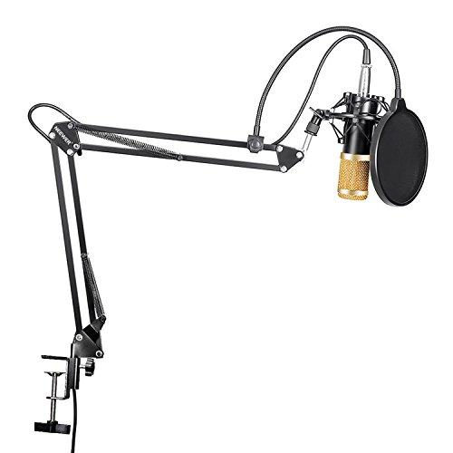 Neewer NW-800 Microphone à Condensateur et NW-35 Réglable d'Enregistrement Bras de Suspension avec Support Antichoc et Kit de Montage Pince