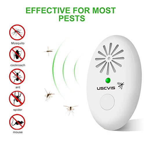 Tragbare Mückenschutz, Ultraschall-Schädlingsvertreiber mit Timer, klein insektenabweisend für Kakerlaken, Nager, Fliegen, Spinnen, Ameisen, Flöhe, Bugs, sicher für Haustiere und Kinder (weiß)