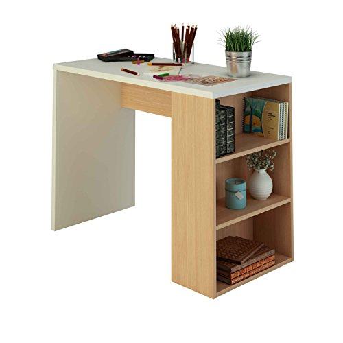 Samblo Midori - Escritorio con estantería de melamina de 100 cm de ancho y nogal, madera contrachapada, color blanco y nogal