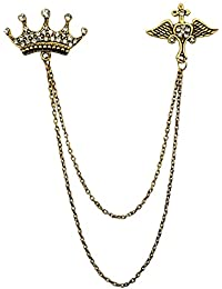 B-fashionable Gold Alloy Double Chain Crown Wing Brooch for Men