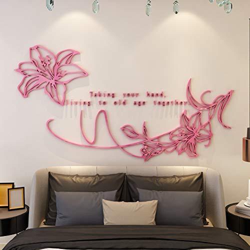 QTRYFHJI 3D Lilie Blume Aufkleber Aufkleber DIY Kunst Wohnkultur Große Acryl Wandaufkleber Für Wohnzimmer Mais Lilie