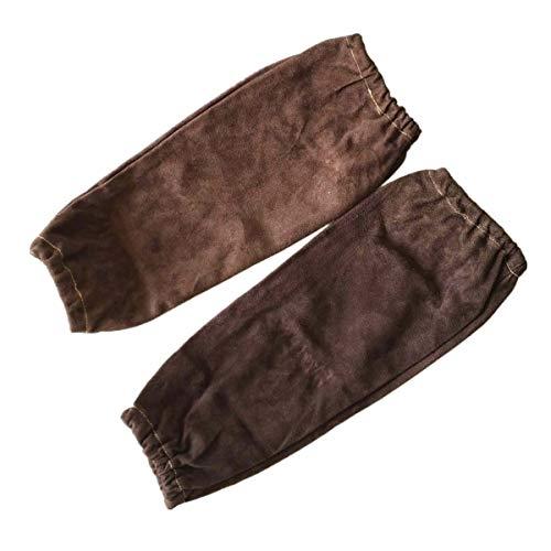 """Manches de protection de bras de soudeur professionnel, manchons à souder, manchons en cuir de vachette fendue 40cm 16"""", conformité CE de cousu soudeur anti-feu (marron)"""