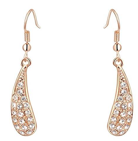 SaySure - Jewelry rose golden single banana luxury Austrian crystal earrrings