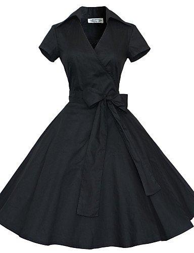PU&PU Robe Aux femmes Grandes Tailles Grandes Tailles / Vintage / Soirée / Travail / Décontracté , Couleur Pleine V Profond Mi-long Coton red-m