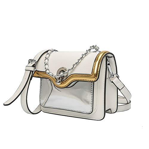 ZY Spiegel Gesicht Farbe kleine quadratische Tasche Mode einzelne Schulter umhängetasche persönlichkeit Laser Farbe Leder kleine Tasche,White-OneSize