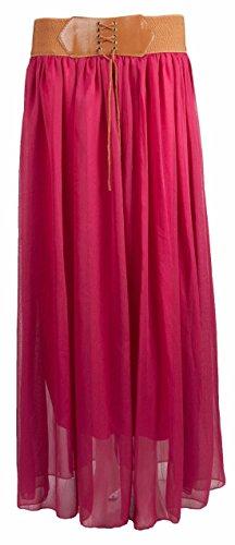 Flirty Wardrobe Jupe longue en mousseline avec ceinture pour femme Taille 36–42 Rouge - Fuchsia