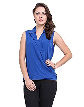 Dede's Women's Collar Top (AC1114001116-XXL_Royal Blue_XX-Large)