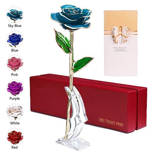 anaoo Ewige Rose 24 Karat vergoldet, Blaue Rose Konservierte, Künstliche Rose mit Geschenkbox Geschenkkarte für Muttertag/Geburtstag/Hochzeitstag (Hellblau Blume mit Stand)