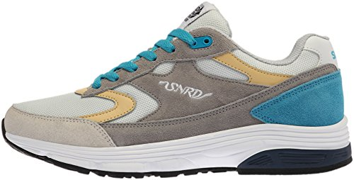 SNRD - 714 unisexe incurvé Baskets chaussures de sport Gris - Gray Blue Yellow