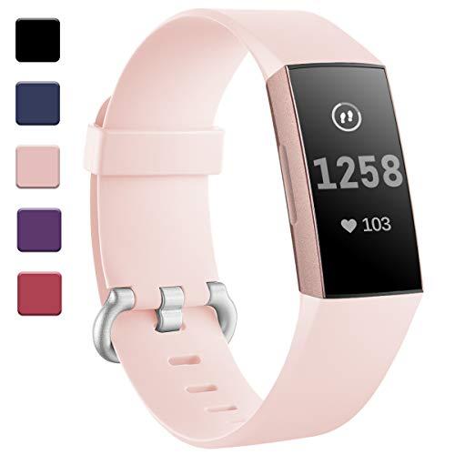 HUMENN für Fitbit Charge 3 Armband, Armbänder Einstellbare Ersatzband für Fitbit Charge 3 Aktivitäts Tracker, Klein Sand Rosa