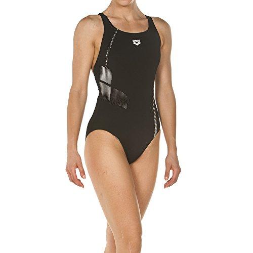 arena Damen Sport Badeanzug Shadow (Schnelltrocknend, UV-Schutz UPF 50+, Chlorresistent, Ergonomisch), Black-White (501), 38