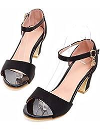 Frauen- und Europäischen Schuhe mit hohen Absätzen, grob heel pumps Sandalen, Damenschuhe, großes Format, schwarz, 35