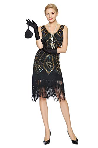 Metme Damen der 1920er Jahre Vintage Fringe Perlen großer Gatsby Partykleid -